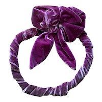 Bella Bordello FAB Antique Vintage 1920's Bow Salvaged From Display Mauve Pink Purple Velvet