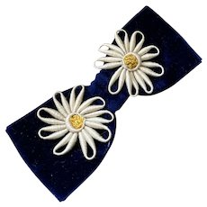 Bella Bordello Antique RIBBON Trim Bow Dark Blue Silk Velvet White Daisy Flowers