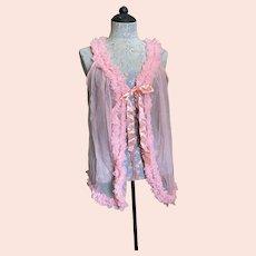 Bella Bordello Vintage Pink Nylon Sleeveless Bed Jacket Negligee Ruffles
