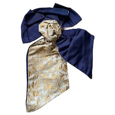 Bella Bordello Antique Trim Silk Ribbon Bow From Dress Bodice Navy Blue Gold Yellow Floral Damask