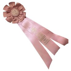 Bella Bordello Bella Bordello Vintage Pink Satin Rosette Ribbon Award California c1960