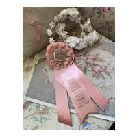Bella Bordello Bella Bordello Vintage Pink Satin Rosette Ribbon Award California 1964