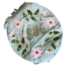 Bella Bordello Antique Pale Blue Silk Hand Painted Panel With Pink Flowers Monogram Initials EH
