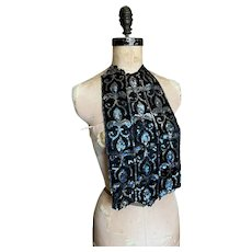 Bella Bordello AMAZING Antique Silk Trim Black Silk Blue Sequins Fluer De Lis Fragment