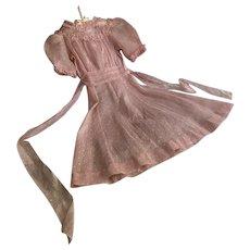 Vintage 1930s Teen Girls Pink Organdy Swiss Dot Dress With Ruffle