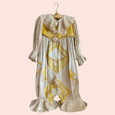 INCREDIBLE Antique French Pierrot Costume Ivory Yellow Silk Sun Moon Star Appliqué Attached Collar