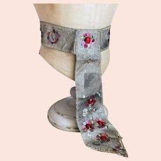 Antique Vintage Costume Sash Belt Flapper Silver Lame Sequins Gems