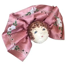 Bella Bordello Vintage Hand Painted Flapper Pink Boudoir Face Lace Cushion