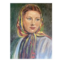Bella Bordello Vintage Painting on Board Portrait Gypsy Woman Lucille Ball Look a Like