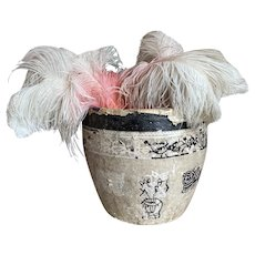 Bella Bordello Vintage Paper Mache Asian Basket Timeworn Monochrome Use Planter Laundry Basket