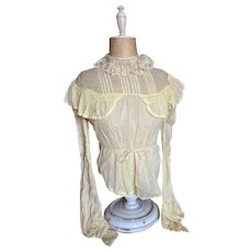 Antique Edwardian Summer Day Blouse Palest Yellow With Faded Floral Lace Collar Ruched Sleeves
