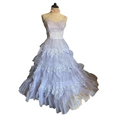 Bella Bordello Stunning Pastel Blue Dress Shabby Chic Tiered Ruffles Tulle Lace Strapless