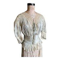 Bella Bordello Antique 3 Pc Victorian Outfit Bodice Skirt dress Corset Belt Sash Pale Blue Velvet Ribbon Bows Lace Circles Shabby Chic