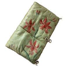 Bella Bordello Antique French Hankie Lingerie Delicates Keeper Holder Hand Painted Flowers Silk Boudoir