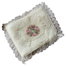 Bella Bordello Vintage Hankie Holder Ivory Silk Pink Petite Point Embroidered Roses Lace Lace