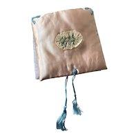Bella Bordello Vintage Hankie Delicates Holder Pink Satin Padded Cushion Ribbonwork Lace Blue Silk Tassels