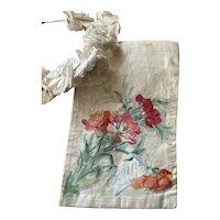 Bella Bordello Antique French Silk Holder Envelope Hankies Delicates Hand Painted Flowers Bonnet Paris
