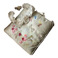 Bella Bordello Antique French Boudoir Hankie Delicates Holder Large Padded Silk Hand Painted Flowers Butterly