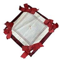 Bella Bordello Red Silk Ribbon Bow Piece White Lace Linen Embroidered Panel