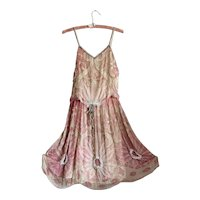 Bella Bordello Antique Flapper Edwardian Pink Silk Dress Heavily Beaded Ribbonwork TRim Fully Lined WEARABLE