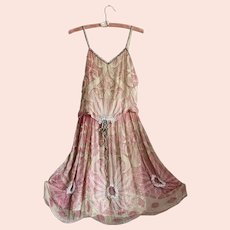Bella Bordello Antique Flapper Edwardian Pink Silk Dress Heavily Beaded Ribbonwork TRim Fully Lined WEARABLE