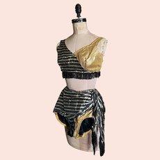 Bella Bordello Vintage Burlesque Dance Costume Black Gold Lamè Stripe Bra Shorts