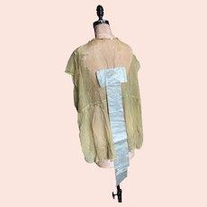 Bella Bordello Antique Vintage Boudoir Bed Jacket Lingerie Metallic Embroidered Lace Ribbonwork