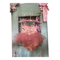 Bella Bordello Vintage Childs Ballet Costume Tutu Peach Pink Millinery Flowers Shabby Nordic Chic