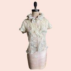 Bella Bordello Antique Edwardian Lace Blouse Ruffled Hems