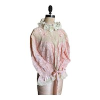 Bella Bordello Vintage Boudoir Bed Jacket Pink Lace Ribbons Lingerie Bows Shabby Chic