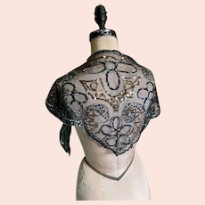 Bella Bordello Antique Vintage French Label Black Mesh Lace Sequin scarf Shawl Head Wrap