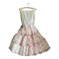 Bella Bordello Sugar Sweet Vintage 1960s Pink Polka Dot Party Dress Large Bow