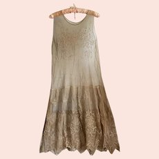 Bella Bordello Antique Edwardian Brown Drop Waist Net Lace Dress With Floral Embroidery