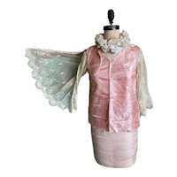 Bella Bordello Antique Pink Silk Butterfly Embroidered Ruffled Lace Sleeve Bodice Top From Dress
