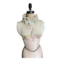 Bella Bordello Antique Vintage Hand Crochet Lace & Baby Blue Ribbon Camisole Top Bodice Over Blouse Bra