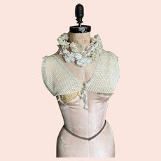 Bella Bordello Antique Vintage Hand Crochet Lace & Baby Blue Ribbon Camisole Top Bodice Over Blouse Bra