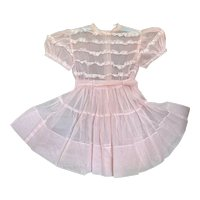 Bella Bordello Vintage Young Girls or Doll Sheer Pink White Polka Dot Lace Ruffled Organdy Party Dress