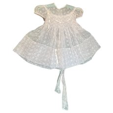 Bella Bordello Vintage Young Girls or Doll Sheer Pink Floral Embroidered Organdy Party Dress