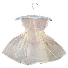Bella Bordello Vintage Baby Girls or Doll Sheer Yellow White Swiss Dot Organdy Lace Trim Dress