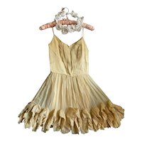 Bella Bordello Vintage Pale Yellow Silk Ruffled Costume Dress Shabby Chic Display