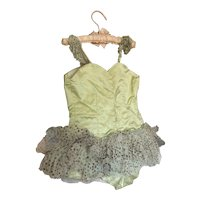 Amazing Vintage Childs Ballet Tutu Costume Ice Green Silver Dot Gauze Lace Ruffles