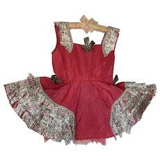 Vintage Tutu Dance Costume Girl Bright Pink Metallic Bows Tinsel Fringe Bows