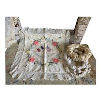 Antique French Pillowcase Cushion Cover Embroidered Floral Silk Ribbonwork Lace Trim