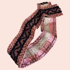 Antique Victorian Belt Sash Pink Silk Black Lace Embroidered Polka Dots Newspaper Backing
