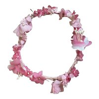 Vintage French Flower Crown Bright Pink Shabby Chic