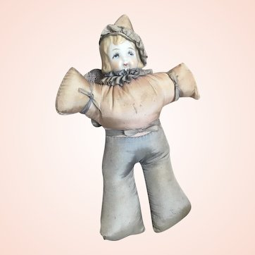 Bella Bordello Vintage Pierrot Clown Boudoir Doll Porcelain Face Pin Cushion
