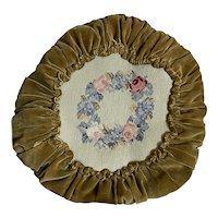 Bella Bordello Vintage Faded Velvet Ruched Pillow Needlepoint Wreath Shabby Chic