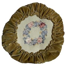 Bella Bordello Vintage Faded Velvet Ruched Pillow Needlepoint Wreath Shabby Chic