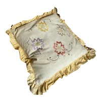 Bella Bordello Vintage Timeworn Shabby Chic Pillow Embroidered Flowers Yellow Ruffle