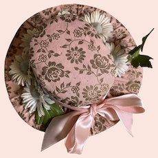 Bella Bordello Adorable Vintage Pin Cushion Hat Pink Gold Roses Blue Daisies Pink Ribbon Bow